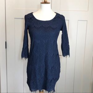Charlotte Russe Blue Lace 3/4 Sleeve Dress